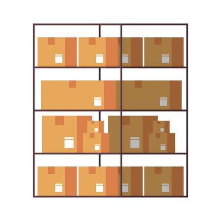 Delivery cardboard boxes in shelf isolated vector illustration Çizim