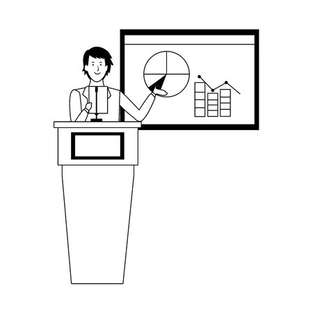 cartoon businessman Standing Behind A Podium explaining a statistical graph over white background, vector illustration