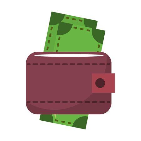 Wallet with cash money cartoon isolated symbol vector illustration graphic design Ilustração