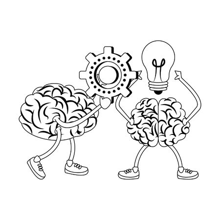 two brains with glasses holding gear and bulb light cartoon vector illustration graphic design  イラスト・ベクター素材