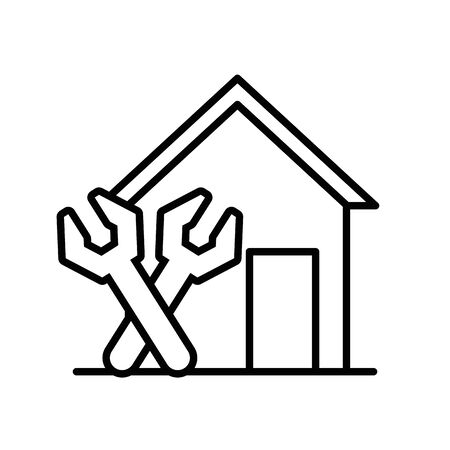 house front facade with wrench tools vector illustration design
