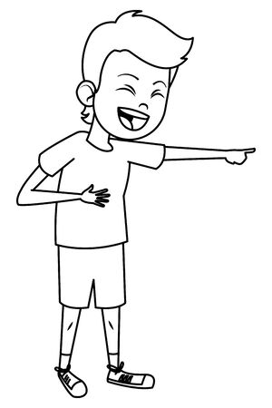 boy laughing and pointing out avatar cartoon character black and white vector illustration graphic design