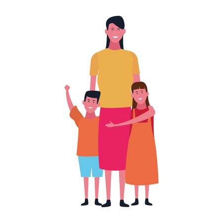 mother with her kids icon over white background, vector illustration Illusztráció