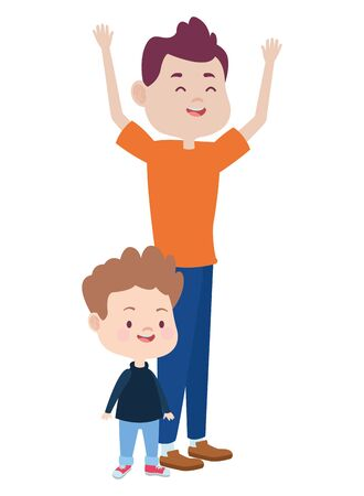 Family single father playing andsmiling with son ,vector illustration graphic design.