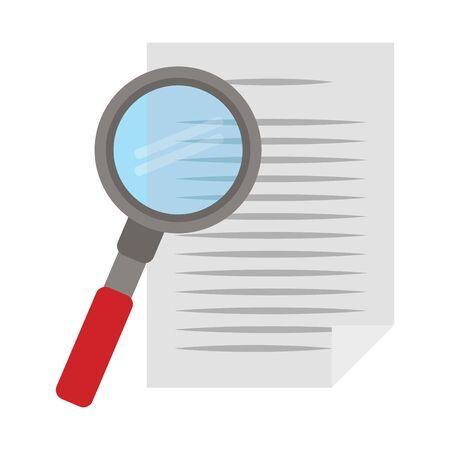 paper page and magnifying glass over white background, vector illustration Ilustração Vetorial