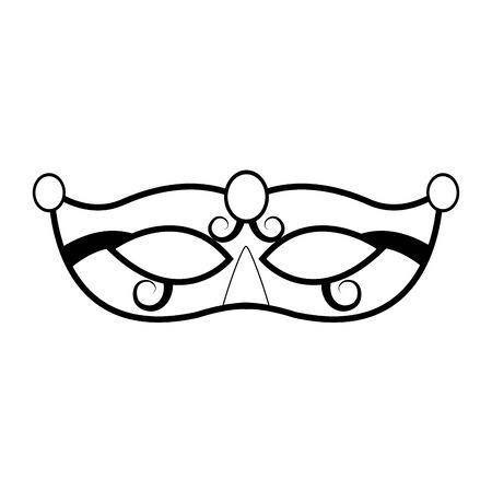 mardi gras mask icon over white background, black and white design. vector illustration