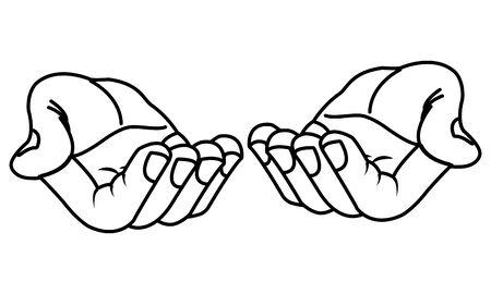Les mains avec les paumes ouvertes offrant dessin animé isolé illustration vectorielle design graphique Vecteurs