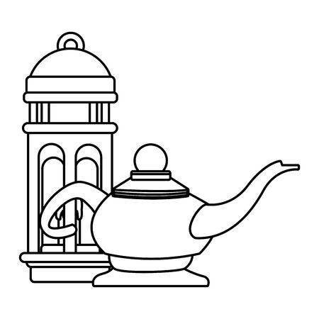 Antique magic lamp and lantern cartoon vector illustration graphic design