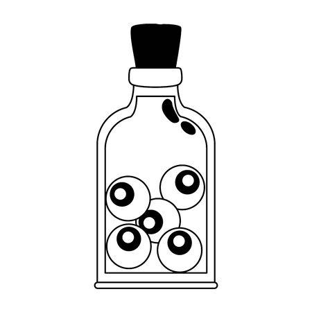 halloween bottle with eyes icon vector illustration design