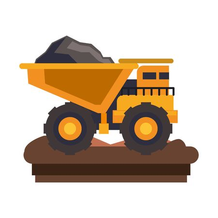 mining cargo truck vehicle machinery isolated sideview on ground vector illustration graphic design
