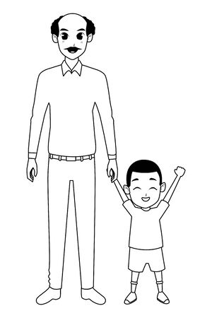 Family single father and little son smiling cartoon vector illustration graphic design Vecteurs