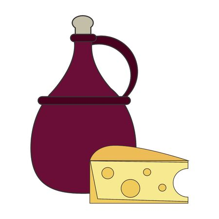 jug of wine and piece of cheese over white background, vector illustration 向量圖像
