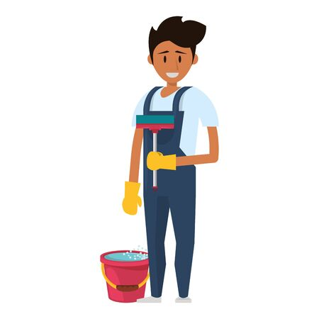 Cleaner worker man smiling with cleaning products and equipment vector illustration graphic design. Illustration