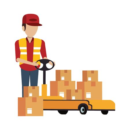 Warehouse worker pushing boxes on handtruck vector illustration