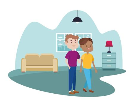 young couple characters in the livingroom vector illustration design Foto de archivo - 137499975