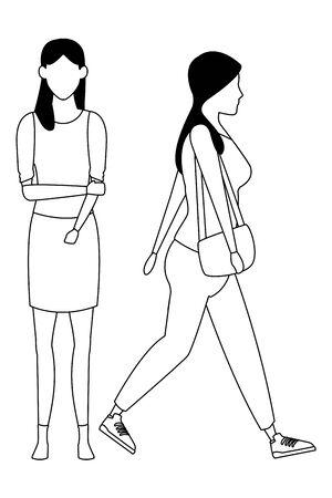 casual people women cartoon vector illustration graphic design Illustration