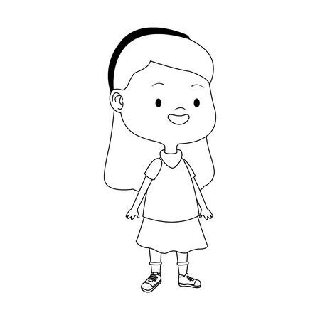 cartoon girl standing icon over white background, vector illustration Foto de archivo - 137499958