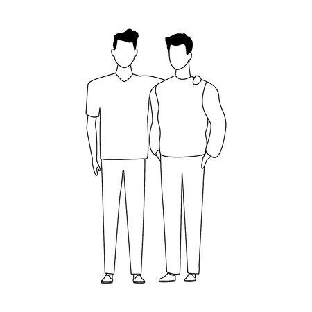avatar friends men standing icon over white background, flat design. vector illustration Foto de archivo - 137595642