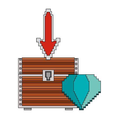 videogame pixelated retro art digital entertainment, wooden treasure coffer with diamond cartoon vector illustration graphic design