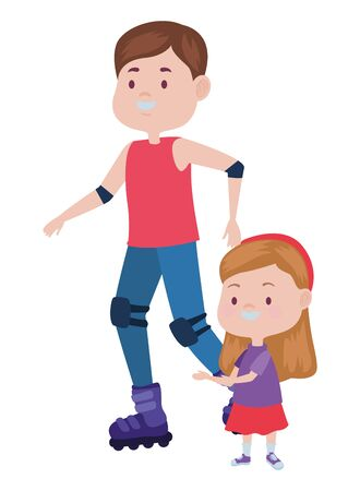 young father with daughter in skates vector illustration design Foto de archivo - 137598422