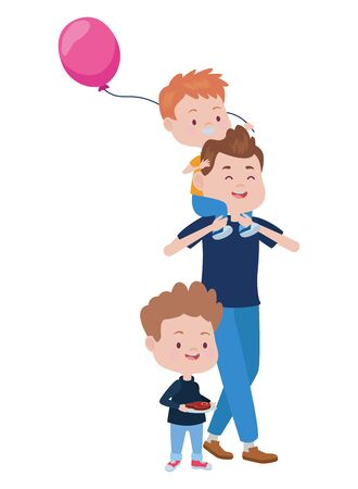 young father with sons and balloon helium vector illustration design