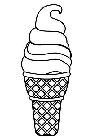 Chocolate Sundae ice cream cone food vector illustration graphic design Illustration