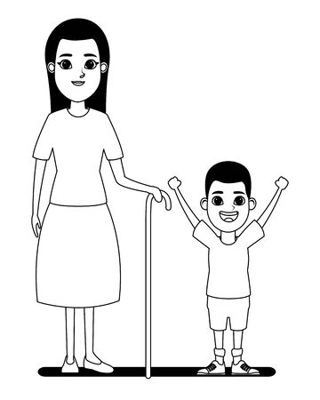 family avatar grandmother with cane next to afroamerican boy profile picture cartoon character portrait in black and white vector illustration graphic design Vecteurs