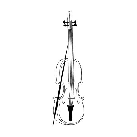 violin instrument icon over white background, vector illustration