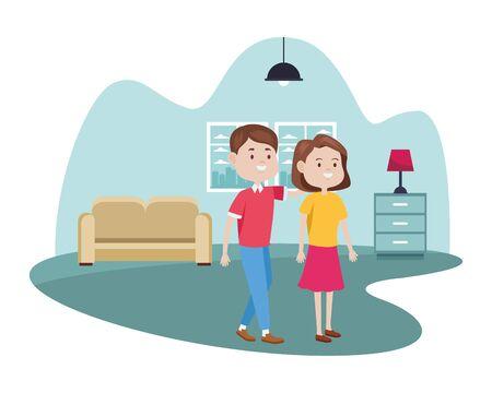 young couple characters in the livingroom vector illustration design Foto de archivo - 137525593