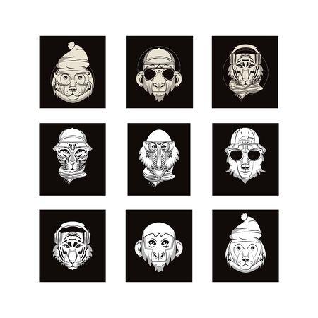 bundle of emblems animals heads vector illustration design