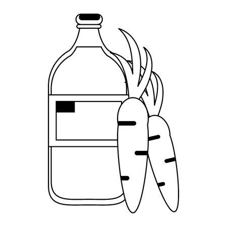 healthy drink juice carrot nature bottle cartoon vector illustration graphic design