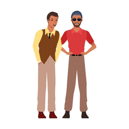 cartoon two men standing with cuban style over white background, colorful design. vector illustration 矢量图像