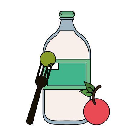 healthy and balanced food cherry with water bottle cartoon vector illustration graphic design Illusztráció