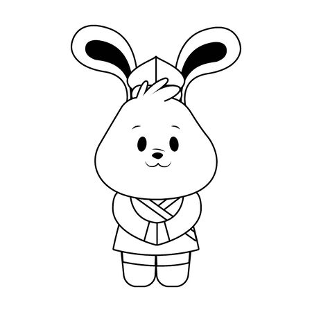 cute chinese rabbit icon over white background, black and white design. vector illustration