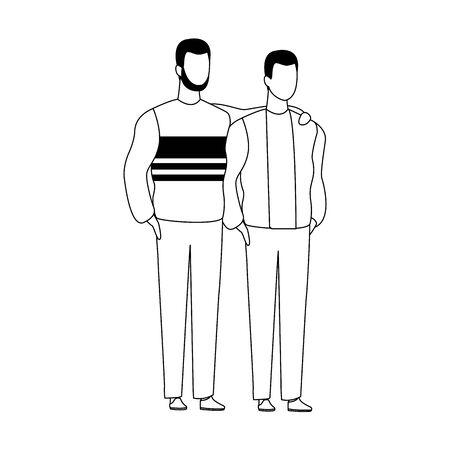 avatar friends men standing icon over white background, vector illustration Foto de archivo - 137601452