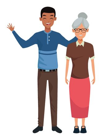Family old mother with adultt son smiling and greeting vector illustration graphic design