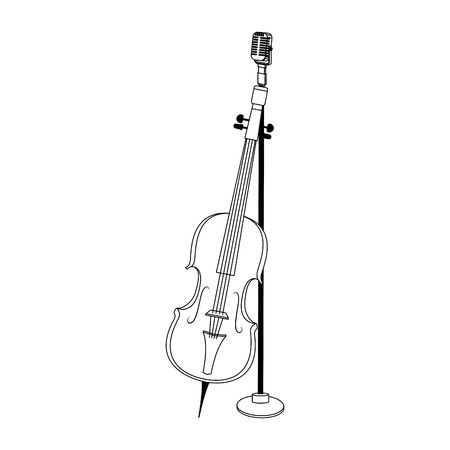 microphone and cello icon over white background, flat design, vector illustration Çizim