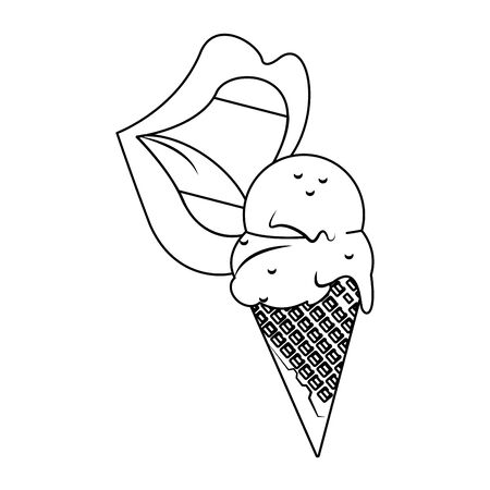sexy lips eating a ice cream cone icon over white background, vector illustration Çizim