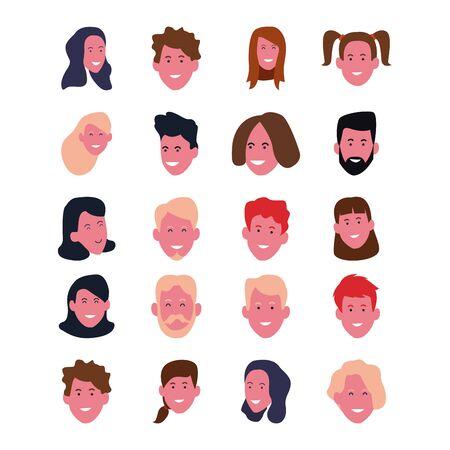 set of cartoon happy people faces smiling over white background, colorful design. vector illustration Foto de archivo - 137549479