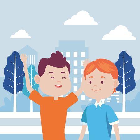 young men friends characters in the city vector illustration design Foto de archivo - 137601808