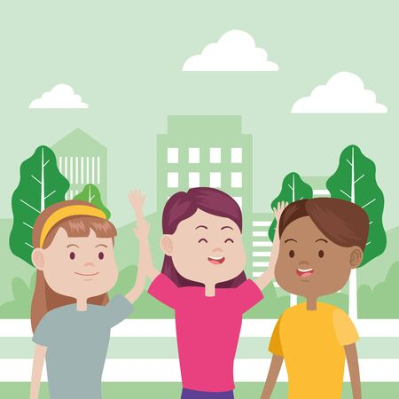 young women characters in the city vector illustration design Foto de archivo - 137601815
