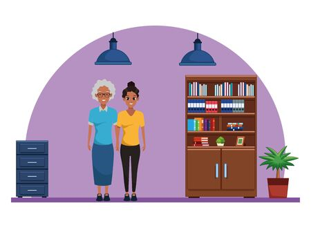 Family mother with adult daugther together cartoon inside library with bookshelf and office cabinet vector illustration graphic design.
