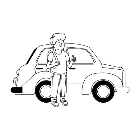 classic car and teenager boy with backpack and standing over white background, vector illustration