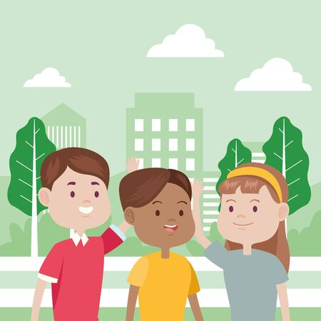 young people characters in the park vector illustration design Foto de archivo - 137559200