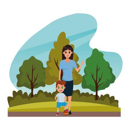 Alleinerziehende Mutter der Familie mit kleinem Jungen, der mit Ballkarikatur in der Natur draußen Landschaft, Vektorillustrationsgrafikdesign spielt.