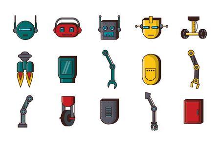 Paquete de tecnología de accesorios de robots, diseño de ilustraciones vectoriales iconos Ilustración de vector