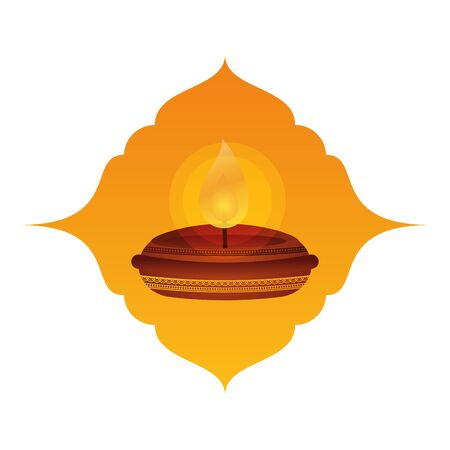 happy diwali candle traditional icon vector illustration design