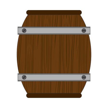 wooden barrel icon over white background, vector illustration