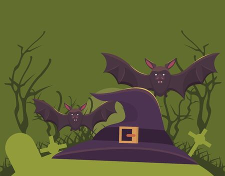 halloween dark scene with bats flying vector illustration design