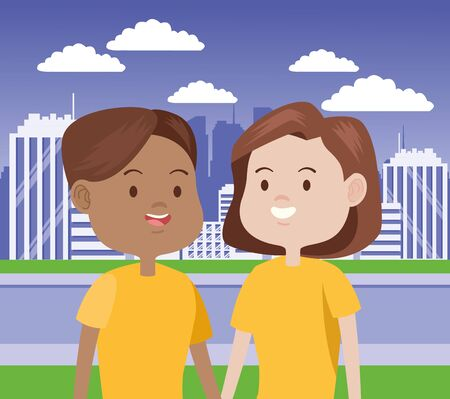 young women characters in the city vector illustration design Foto de archivo - 137588613